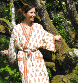 Dressing Gown Printed Cotton Kimonos Hand Made In India