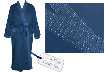 indigo dressing gown
